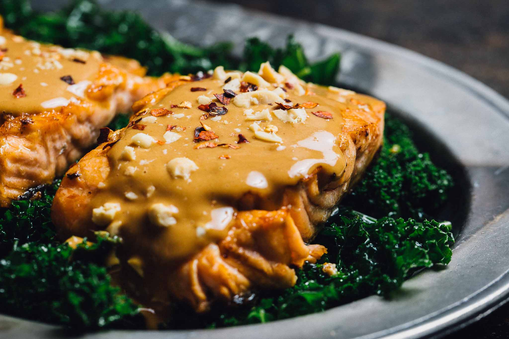 Baked Peanut Salmon: This salmon recipe is perfect for a busy weeknight. Just marinate in the fridge overnight, cook for 20 minutes and you're done!