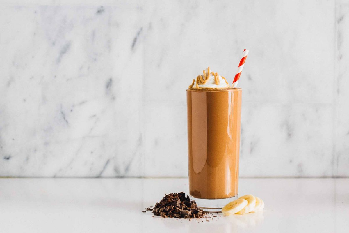 Chocolate Peanut Butter Protein Shake: Made with just four ingredients, this shake is packed with protein and perfect for anyone with a sweet tooth.