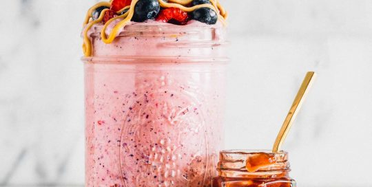 Peanut Butter & Jelly Smoothie: Nostalgic flavors blend together for an easy-to-make, on-the-go drink.