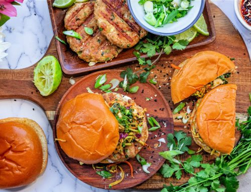 Chicken Burgers with Spicy Peanut Butter Slaw Recipe
