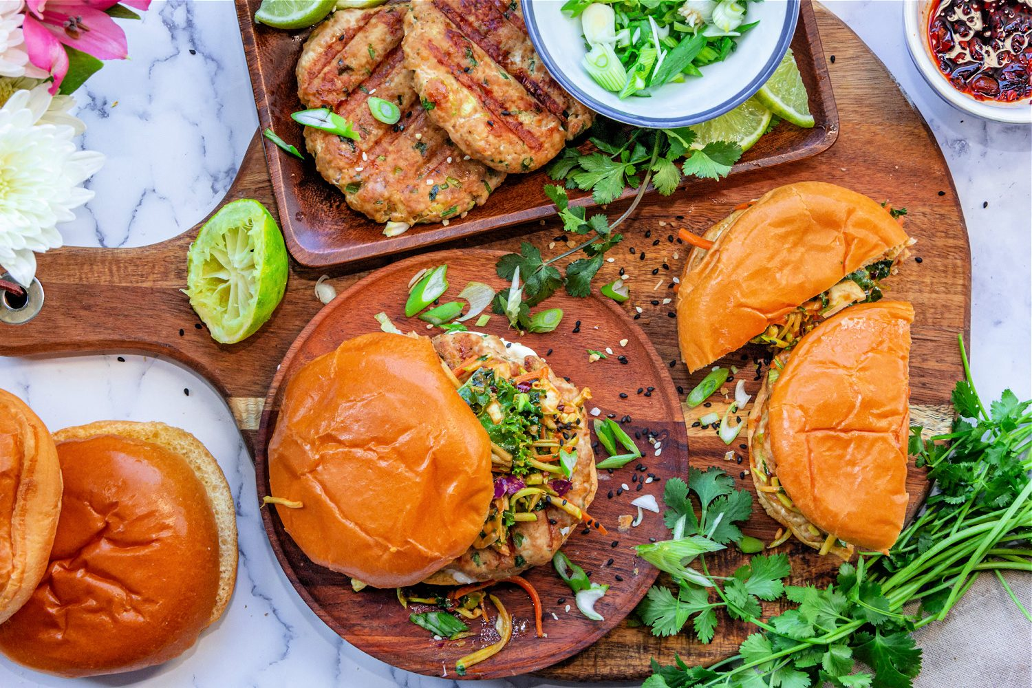 Chicken Burgers with Spicy Peanut Butter Slaw